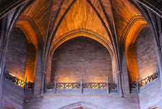 Arched ceiling inside cathedral. Impressive arched ceiling inside Liverpool Cathedral Royalty Free Stock Image