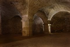 Arched chamber under old temple in Krzeszow royalty free stock photography