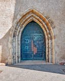 Arched church entrance door Stock Image