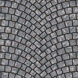 Arched cobblestone pavement texture 006. Cobblestone pavement street with arched pattern. Seamless tileable repeating square 3D rendering texture Royalty Free Stock Photo