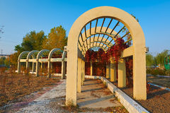 The arched construcion on the park Stock Photo
