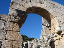 Arched construction of roman stadion in perge Stock Image