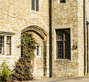 Arched door and leaded windows set in stone. Royalty Free Stock Photos