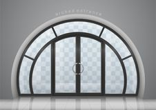 Arched door with window. A large arched door with a window. Entrance to the building. Vector graphics Royalty Free Stock Photography