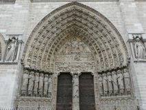 Arched Doorway At Notre Dame Cathedral, Paris Stock Image