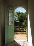 Arched Doorway to Garden Stairs Stock Images