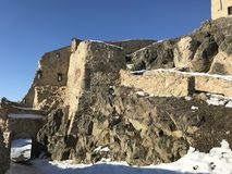 Old fortress Rupea in winter - Romania. Arched entrance in old, historical fortress of Rupea, German Reps; Hungarian: KÅ'halom, `mound of rocks`; Latin Ripa royalty free stock photography