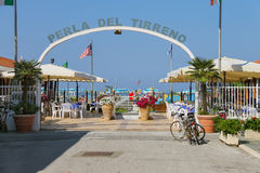 Arched entrance to beach zone in Viareggio, Italy Stock Image