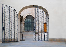 Arched entrance to the house in Old Prague Stock Photo