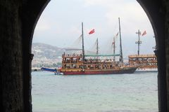 Arched galleries and rooms inside the ancient shipyard Alanya, Turkey Stock Photos