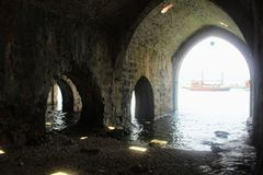 Arched galleries and rooms inside the ancient shipyard Alanya, Turkey.  Stock Image