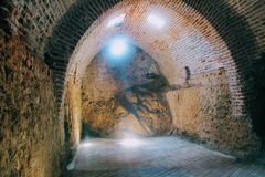 Arched galleries and rooms inside the ancient shipyard Alanya, Turkey Royalty Free Stock Image