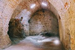 Arched galleries and rooms inside the ancient shipyard Alanya, Turkey Stock Image