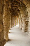 Arched gallery in the Park Guell, Barcelona, Spain Royalty Free Stock Photos