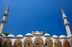 The arched gallery with two minarets. Suleymaniye Mosque Stock Images