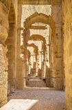 The arched hall. The long narrow hall in riman amphitheatre, El Jem, Tunisia Royalty Free Stock Image