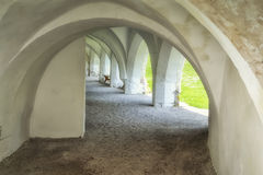 Arched hallway outside. An example of medieval architecture, how do skills covered walkway Stock Photography