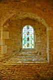 Arched Leadlight inside Medieval French Monastery Royalty Free Stock Photography