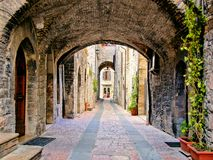 Arched medieval lane royalty free stock photos