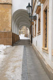 Arched narrow passage by Old Town Hall, Prague Stock Photo