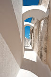 Arched narrow street in Emporio, Santorini, Greece Royalty Free Stock Image