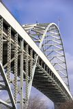 Arched openwork two-level Fremont bridge across Willamette River. Part of famous biggest in America arched openwork two level transportation Fremont bridge Stock Photos