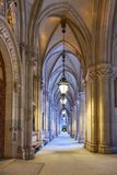Arched passage in front of the City Hall Rathaus in Vienna, Au. Stria, early in the evening Royalty Free Stock Images