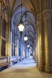 Arched passage in front of the City Hall Rathaus in Vienna, Au. Stria, early in the evening Royalty Free Stock Photo