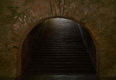 Arched passage with stairs in the fortress. Fragment of the fortification of the nineteenth century The Kiev Fortress Royalty Free Stock Images