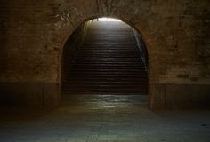 Arched passage with stairs in the fortress. Fragment of the fortification of the nineteenth century The Kiev Fortress Stock Photos