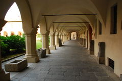 Arched passageway, Novara, Italy Stock Images