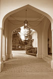 Arched porch and drive way. Arched porchway in victorian Indian arcitectured  Royal home Stock Images