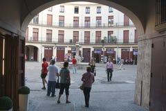 Entering a Historic Shopping Plaza Stock Image