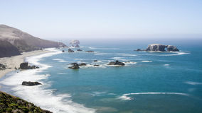 Arched Rock at Sonoma Coast State park. Panoramic view of the Pacific Coast and Arched Rock at Sonoma Coast state Park, California, USA, on a sunny Summer day royalty free stock image