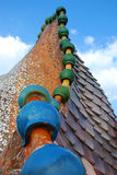 Arched roof. Detailed image of Casa Batllo building rooftop in Barcelona, Spain Royalty Free Stock Photography