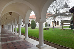 Arched in Sambata de Sus monastery in Transylvania, Romania royalty free stock photo