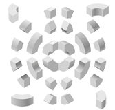 Arched shapes in isometric perspective, isolated on white background. Basic building blocks for creating abstract objects, backgro. Und. Gray three-dimensional Stock Photos