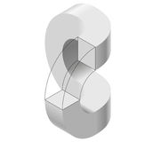Arched shapes in isometric perspective,  on white background. Basic building blocks for creating abstract objects, backgro. Und. Gray three-dimensional round Royalty Free Stock Photography