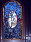 Arched stained glass in door Stock Photos