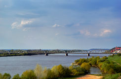 Arched, steel road bridge over the River Vistula in Grudziadz Stock Photography