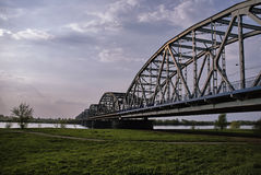 Arched, steel road bridge over the River Vistula Royalty Free Stock Photos