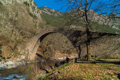 Arched stone bridge of Pyli built 1514 AD, Greece Royalty Free Stock Images