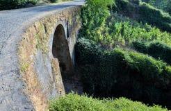 Arched stone bridge under cobblestone road Stock Photos