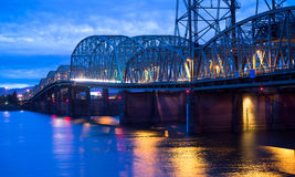 Arched truss section of the bridge over the Columbia River in th Royalty Free Stock Photography