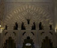 Arched vaults and details in Mezquita, Cordoba. Stock Photos