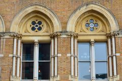 Arched victorian brick windows Royalty Free Stock Photography