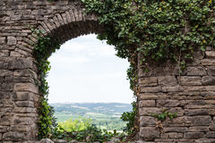 Arched View from France's Cordes-sur-Ciel Royalty Free Stock Images
