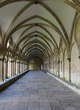Arched walkway in an English Gothic cathedral Royalty Free Stock Photography