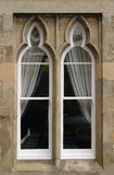 Arched Window. 2 section Trefoil or Cusped arched box sash window with stone outer stock photo