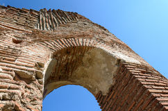 Arched window at ancient ruins Stock Images
